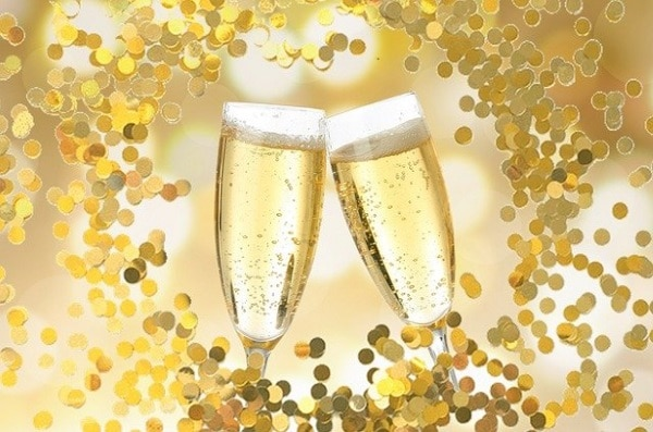 Coupe de champagne et son sorbet