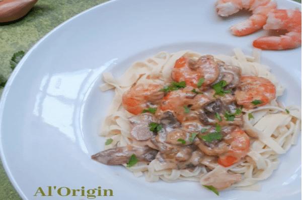 Tagliatelli crevettes coco - Tagliatelli fiberpasta IG 23 - Vendu chez al-origin.fr